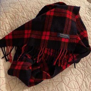 Burberry Accessories - BURBERRYS WOOL BLACK RED PLAID SCARF 🧣SCOTLAND